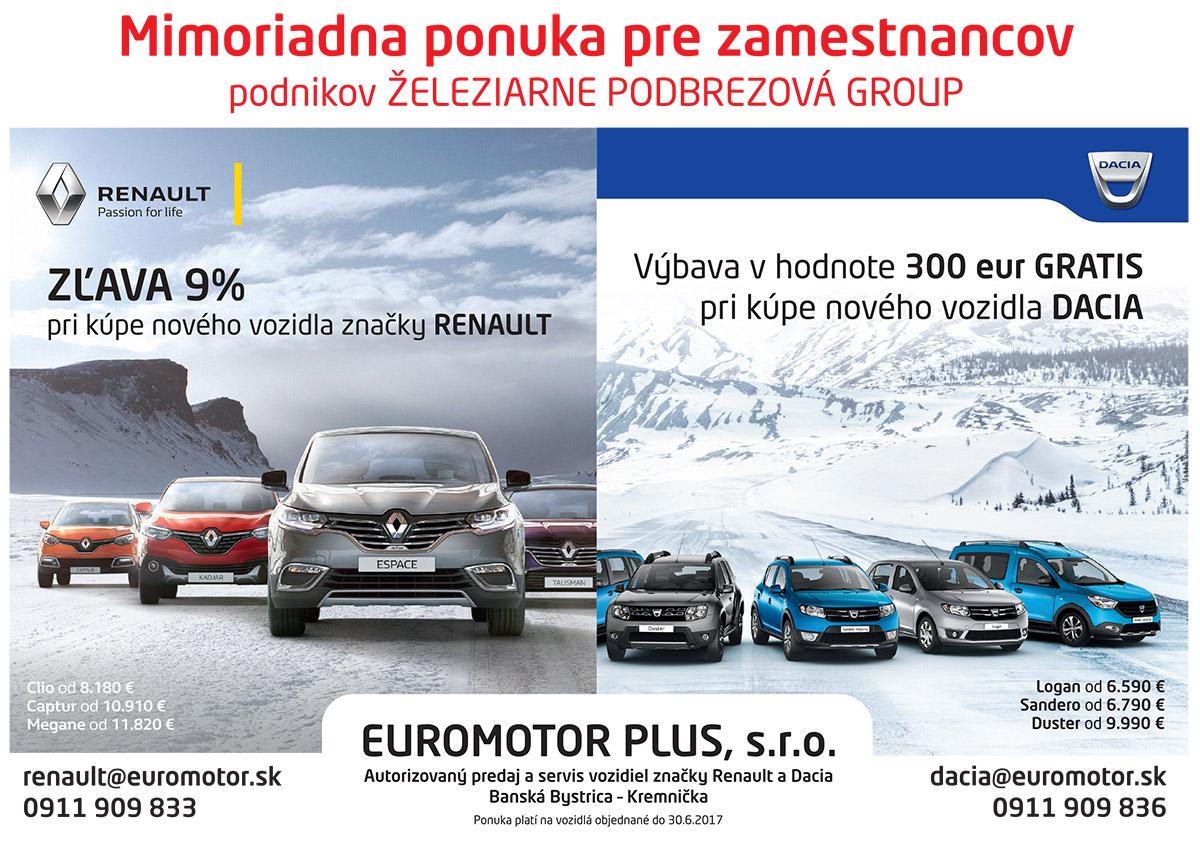 Renault - zľava 9% pre zamestnancov ŽP a.s.