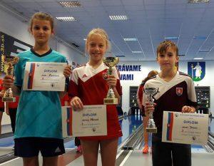V kategórii U12 zľava: 3. Vanessa Korčušková ŠKK Trstená, 1. Daniela Mócová ŠK ŽP, 2. Andrej Balco ŠK ŽP