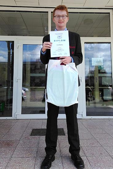 Erik Škôlka, žiak SG ŽP reprezentoval našu školu v krajskom kole súťaže SOČ (Stredoškolská odborná činnosť) v kategórií cestovný ruch