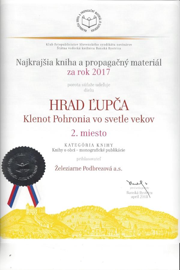 Hrad Ľupča, klenot Pohronia vo svetle vekov získalo druhé miesto v súťaži o najkrajšiu knihu za rok 2017
