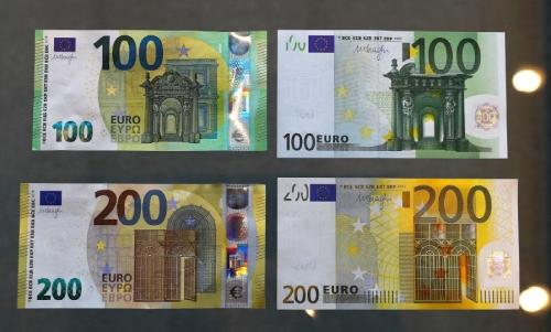 Nový vizuál bankoviek (vľavo) v porovnaní s bankovkami z prvej série (vpravo)