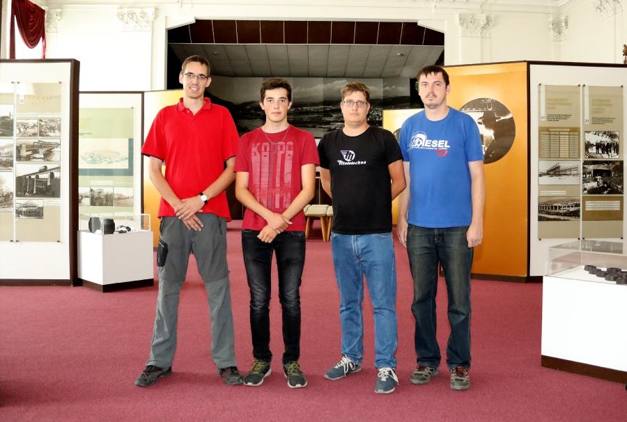 Zľava: Martin Šarman, Adam Švajcr, Martin Zeman a Ondrej Zeman v Hutníckom múzeu ŽP.
