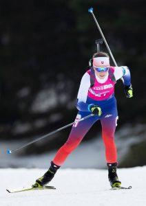 Ema Kapustová na trati počas Zimných olympijských hier mládeže v Lausanne