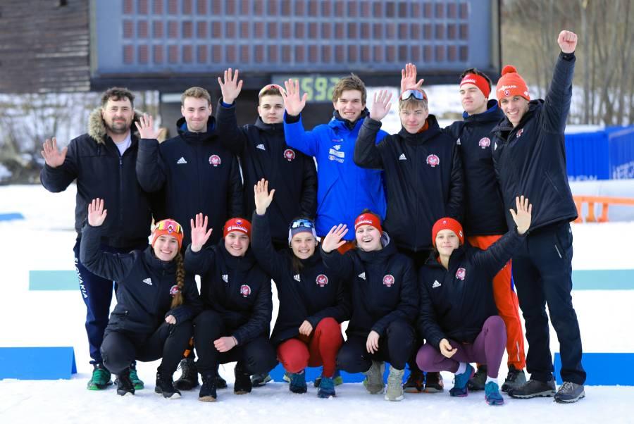 Biatlonový oddiel ŠK Železiarne Podbrezová v Osrblí na Majstrovstvách Slovenska v biatlone. Foto: A. Nociarová