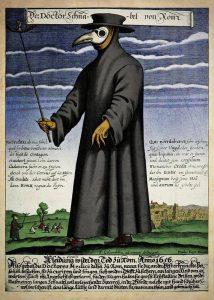 Morový lekár v 17. storočí a jeho typické oblečenie s ochrannou maskou proti zápachu